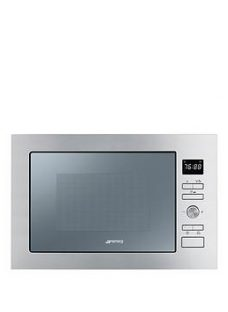 Smeg Cucina Fmi425S 25-Litre Built-In Microwave With Grill - Silver Glass