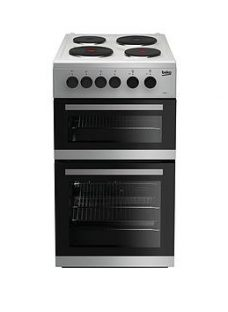 Beko Kd533As 50Cm Twin Cavity Electric Cooker - Silver With Connection