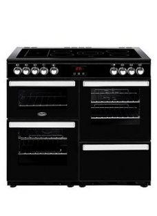 Belling 100E Belling Cookcentre 100Cm Electric Range Cooker Black With Optional Connection - Rangecooker With Connection
