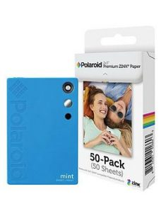 Polaroid Mint Camera With 5 Free Prints And Optional 50 Or 110 Paper Pack - Blue - +Pack Of 110 Papers (115 Total)