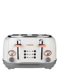 Tower 4 Slice S/S Toaster - Marble Rose Gold