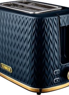 TOWER Empire Collection T20054MNB 2-Slice Toaster – Midnight Blue