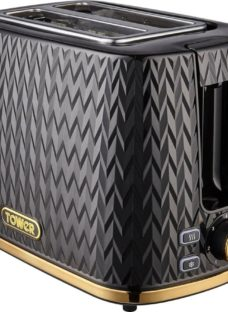 TOWER Empire Collection T20054BLK 2-Slice Toaster – Black