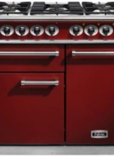 Falcon 1000 DELUXE F1000DXDFRD/NM 100cm Dual Fuel Range Cooker - Cherry Red - A/A Rated