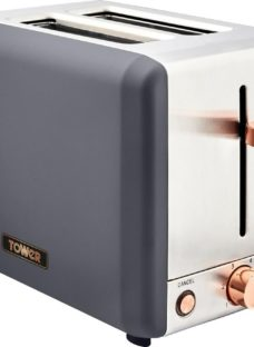 TOWER Cavaletto T20036RG 2-Slice Toaster - Black & Rose Gold