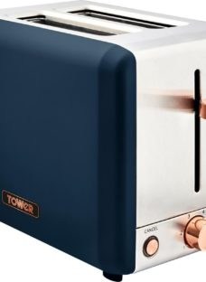 TOWER Cavaletto T20036MNB 2-Slice Toaster - Blue & Rose Gold