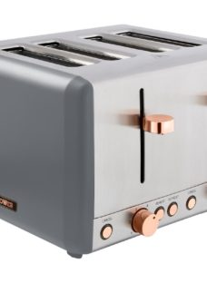 TOWER Cavaletto T20051RGG 4-Slice Toaster - Grey & Rose Gold
