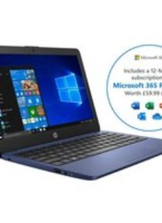 """HP Stream 11-ak0021na 11.6"""" Includes Microsoft 365 Personal 12-month subscription with 1TB Cloud Storage Laptop - Blue"""